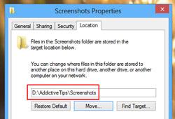 Как изменить расположение папки для снимков экрана по умолчанию в Windows 8