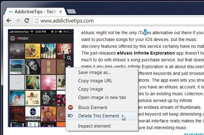 Удаление элементов с веб-страниц с помощью контекстного меню с ContextDeleter