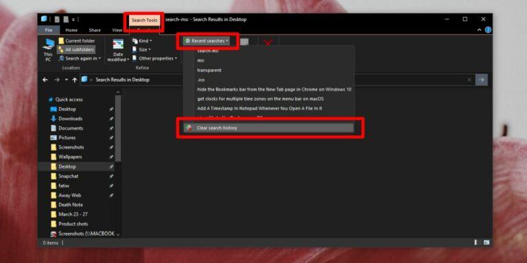 Как удалить историю поиска в проводнике в Windows 10