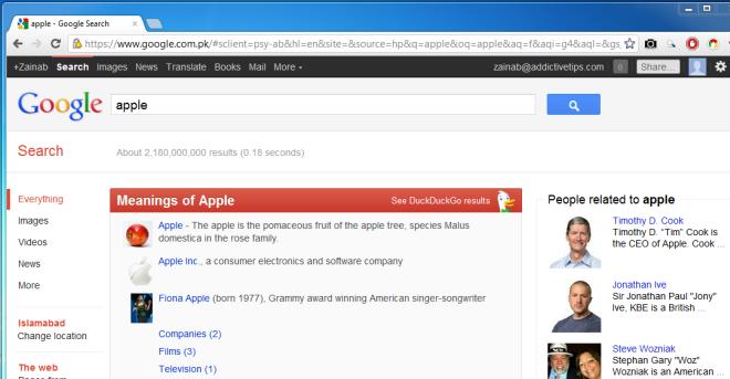 Мгновенные ответы в поиске Google [Chrome]