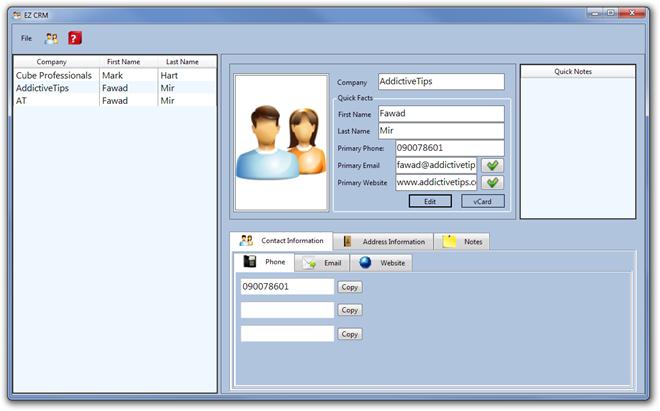 Легкий менеджер контактов с заметками и поддержкой экспорта в VCF