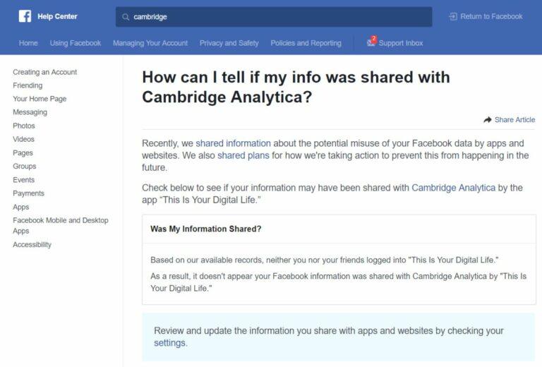 Как проверить, не просочились ли ваши данные из Facebook в Cambridge Analytica