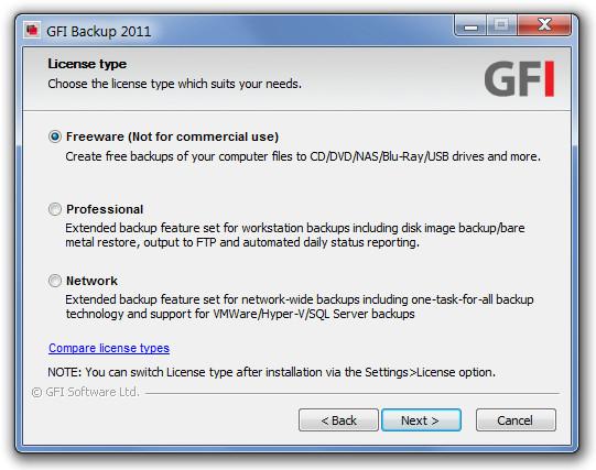 Выполняйте полное, инкрементное, дифференциальное и стековое резервное копирование с помощью GFI Backup