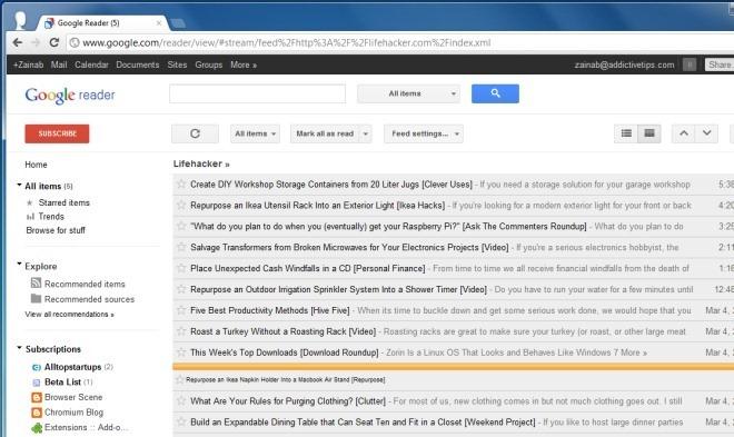 Избавьтесь от нежелательных элементов в Google Reader [Chrome]