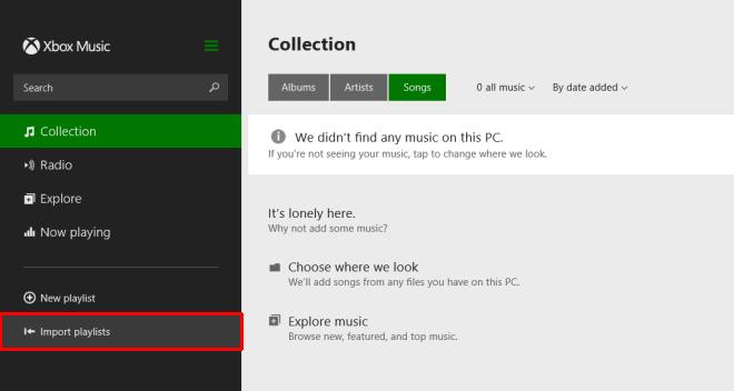 Импорт плейлистов iTunes в музыкальное приложение с современным пользовательским интерфейсом в Windows 8
