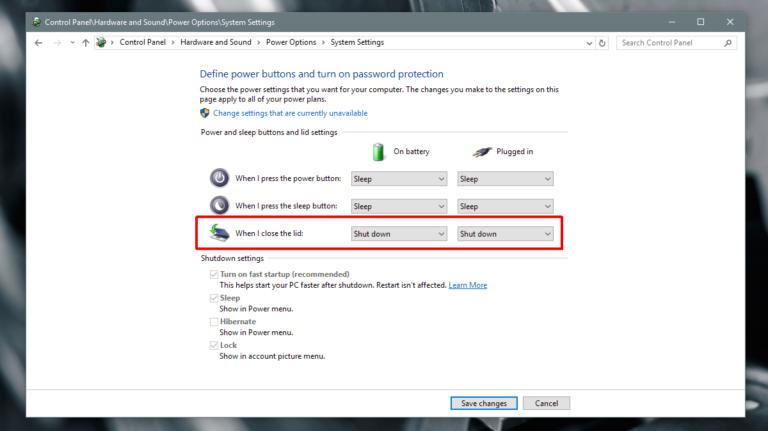 Завершение работы Windows при закрытии крышки ноутбука