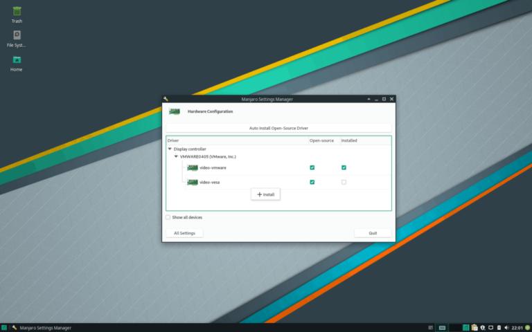 Как использовать установщик драйверов Manjaro Linux