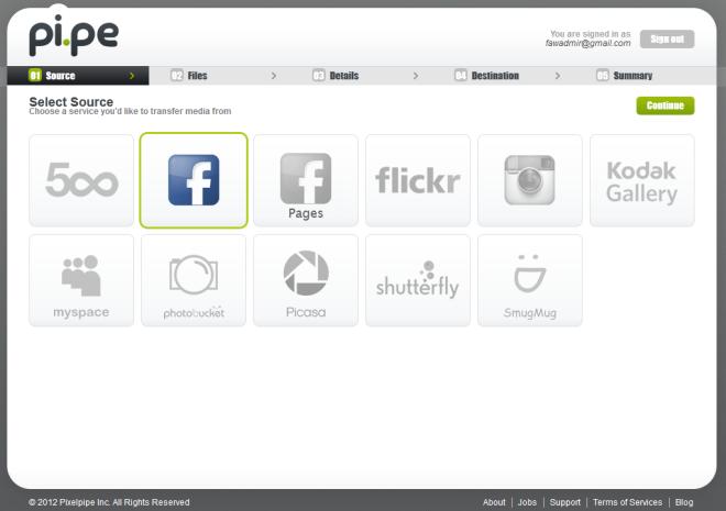 Передача изображений между несколькими социальными сетями и веб-службами