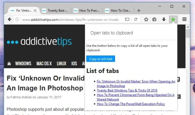 Как скопировать заголовок и URL-адрес всех открытых вкладок в Firefox