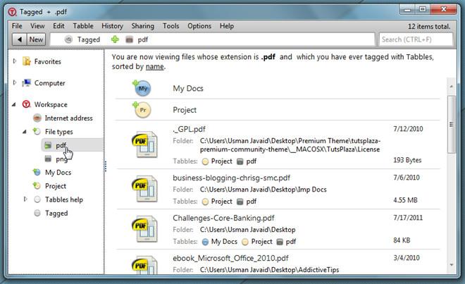 Создавайте виртуальные папки для маркировки и группировки файлов с помощью файлового менеджера Tabbles