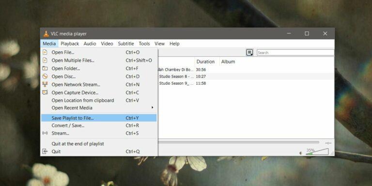 Как сохранить плейлист в проигрывателе VLC в Windows 10
