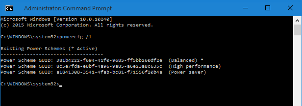 Быстрое переключение планов управления питанием в Windows 10 с помощью ярлыков командной строки