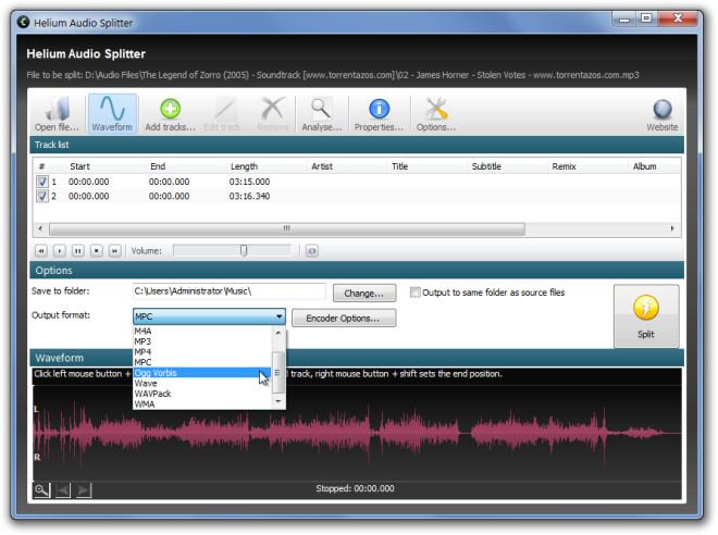 Разделение / объединение музыкальных файлов с различным форматом вывода