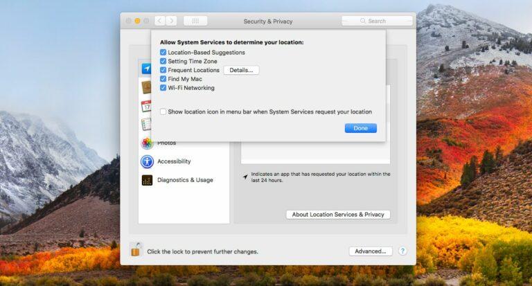 Как отключить важные местоположения в macOS High Sierra