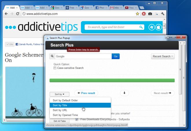 Вкладки поиска по ключевым словам, сортировка по заголовку / URL / времени [Chrome]