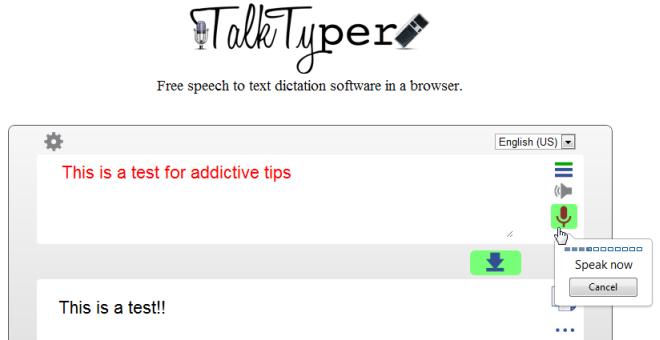 TalkTyper позволяет разговаривать с вашим браузером для преобразования речи в текст