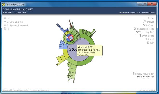 Просмотр и управление содержимым жесткого диска с помощью круговой диаграммы