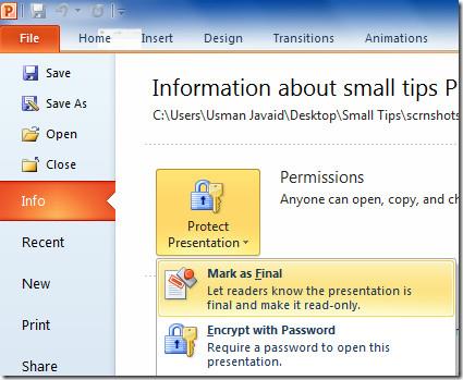 Отметить презентацию PowerPoint 2010 как окончательную
