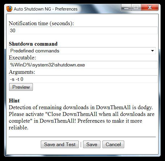 Автоматическое выключение системы после завершения загрузки в Firefox