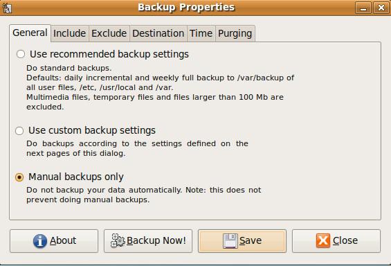 Резервное копирование и восстановление системных данных с помощью Sbackup в Ubuntu Linux