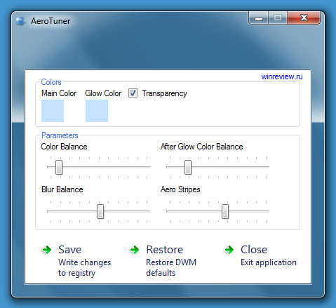 Придайте свой цвет и оттенок Windows 7 Aero с помощью Aero Tuner