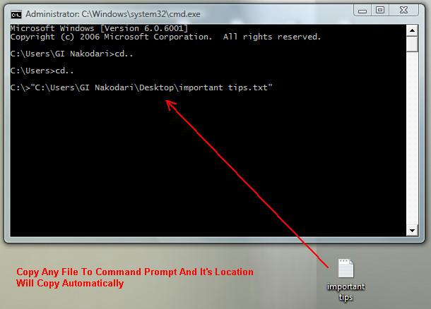 Как скопировать расположение файлов в командную строку