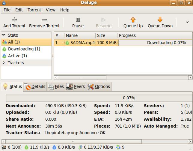 Установите и используйте торрент-клиент Deluge в Ubuntu Linux