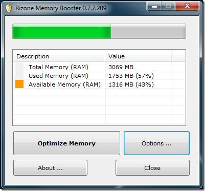 Устранение утечки памяти в Windows 7 с помощью Memory Booster