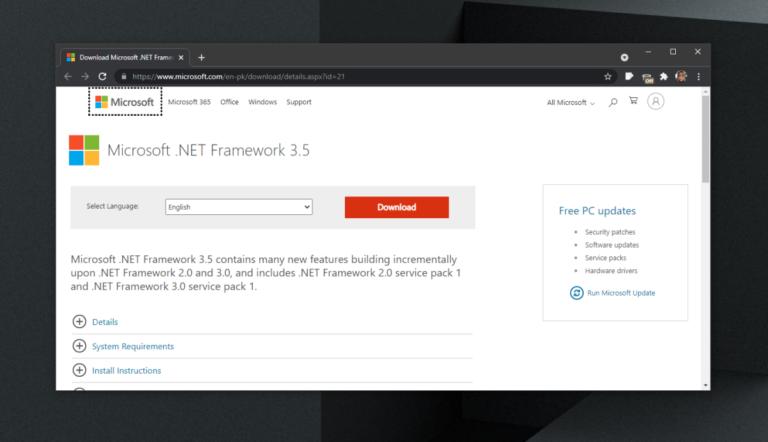 Как загрузить .NET Framework 3.5 в Windows 10