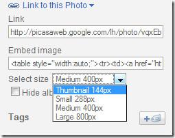 Добавление дополнительных размеров и параметров фотографий в URL-код для вставки изображения в Picasa