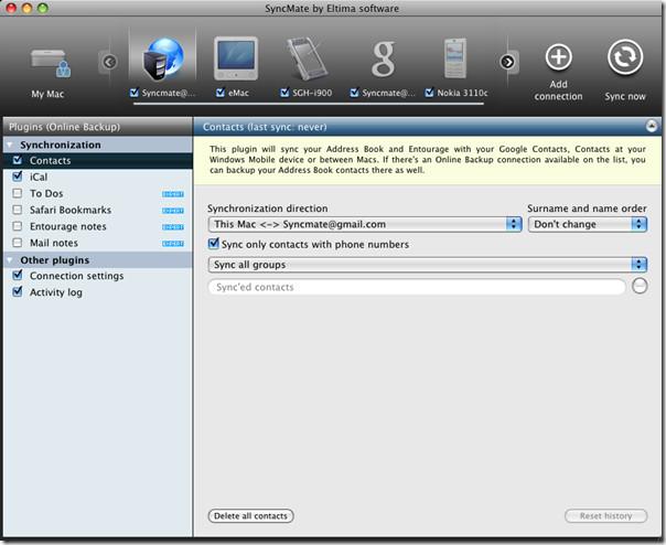 SyncMate синхронизирует Mac с учетной записью Google, Nokia S40, Win Mobile (у нас есть 5 экспертных лицензий)