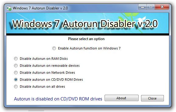 Отключить автозапуск для дисков Windows 7 и съемных устройств